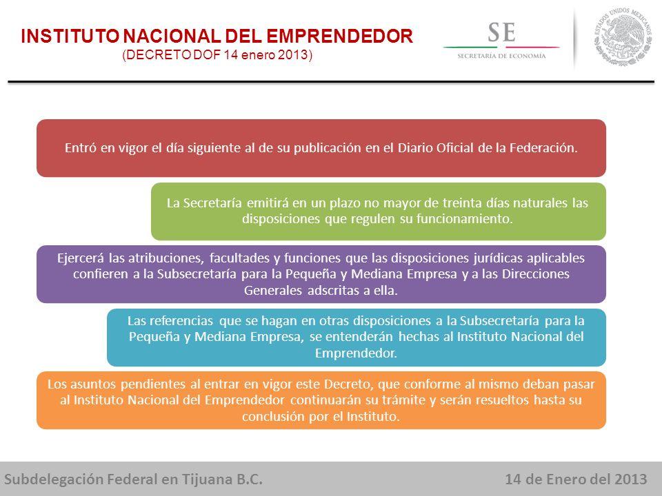 Subdelegación Federal en Tijuana B.C.14 de Enero del 2013 Apoyar a las pequeñas y medianas empresas para su inserción en las cadenas productivas e incrementar sus ventas a las medianas y grandes empresas de sectores estratégicos.