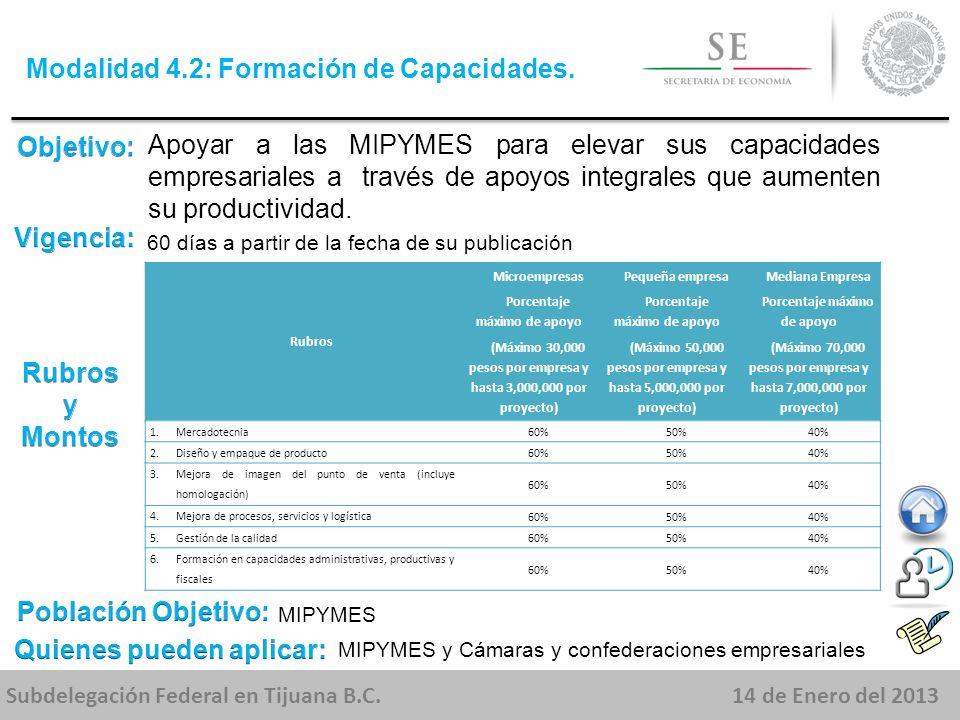 Subdelegación Federal en Tijuana B.C.14 de Enero del 2013 Apoyar a las MIPYMES para elevar sus capacidades empresariales a través de apoyos integrales que aumenten su productividad.
