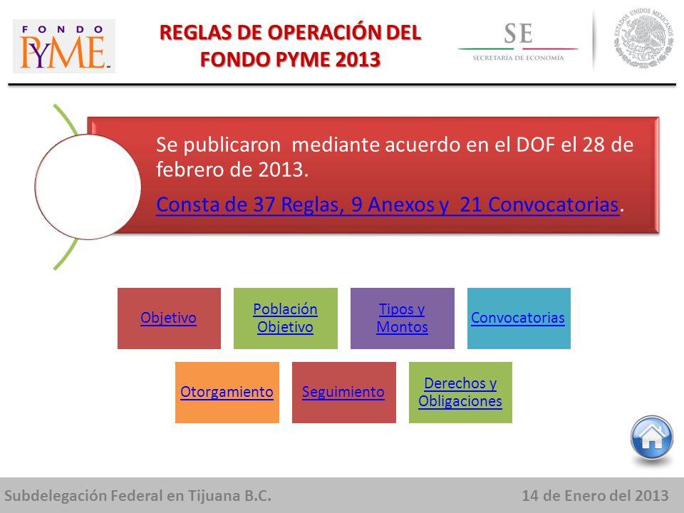 Subdelegación Federal en Tijuana B.C.14 de Enero del 2013 REGLAS DE OPERACIÓN DEL FONDO PYME 2013 Se publicaron mediante acuerdo en el DOF el 28 de febrero de 2013.