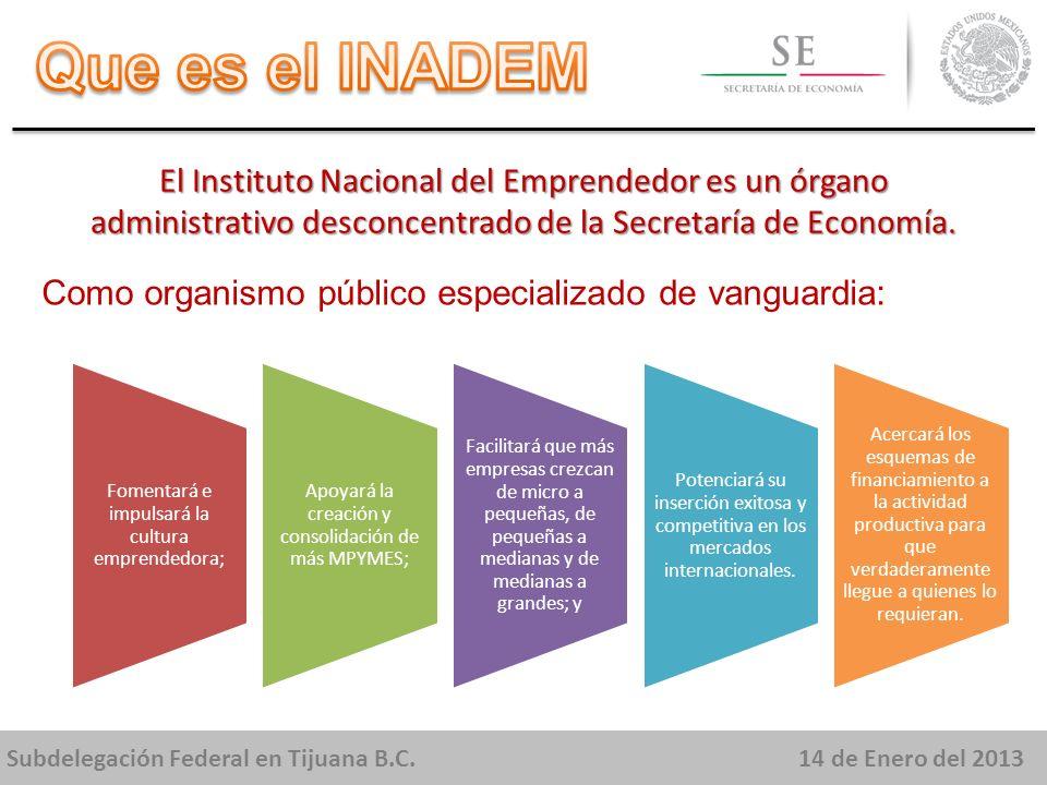 Subdelegación Federal en Tijuana B.C.14 de Enero del 2013 El Instituto Nacional del Emprendedor es un órgano administrativo desconcentrado de la Secretaría de Economía.