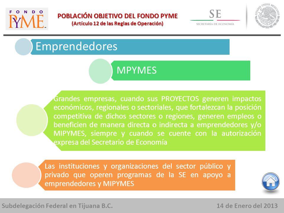 Subdelegación Federal en Tijuana B.C.14 de Enero del 2013 POBLACIÓN OBJETIVO DEL FONDO PYME (Artículo 12 de las Reglas de Operación) Emprendedores MPYMES Grandes empresas, cuando sus PROYECTOS generen impactos económicos, regionales o sectoriales, que fortalezcan la posición competitiva de dichos sectores o regiones, generen empleos o beneficien de manera directa o indirecta a emprendedores y/o MIPYMES, siempre y cuando se cuente con la autorización expresa del Secretario de Economía Las instituciones y organizaciones del sector público y privado que operen programas de la SE en apoyo a emprendedores y MIPYMES