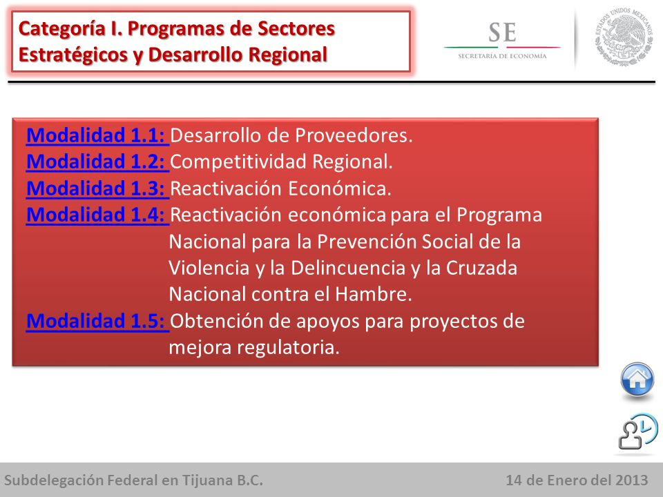 Subdelegación Federal en Tijuana B.C.14 de Enero del 2013 Apoyar la realización de eventos que promuevan el fortalecimiento de los sectores estratégicos, la integración de emprendedores y MIPYMES dentro de cadenas productivas y el fomento a la cultura y espíritu emprendedor.