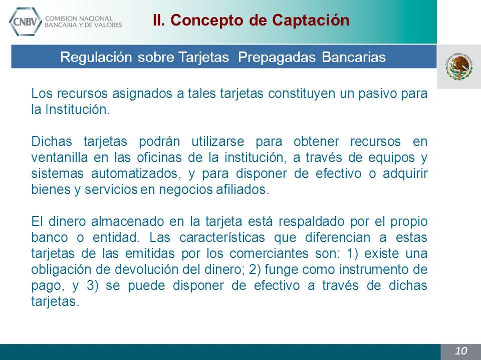 10 Regulación sobre Tarjetas Prepagadas Bancarias II.