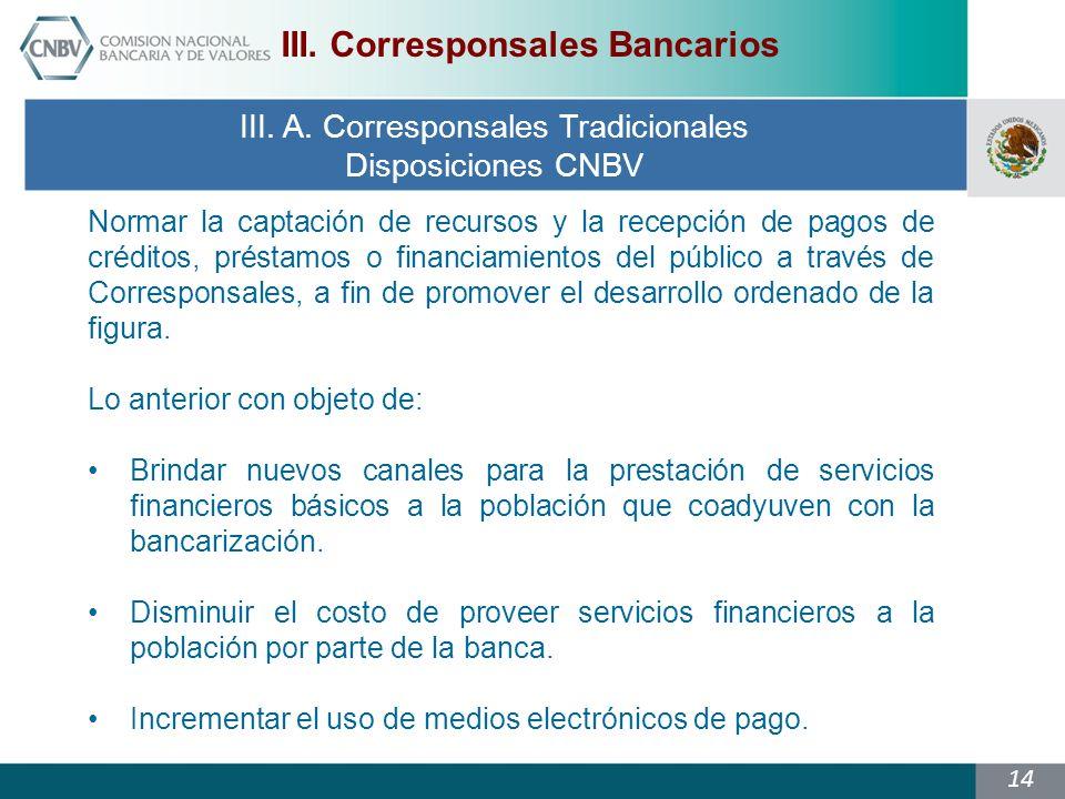 14 III.A. Corresponsales Tradicionales Disposiciones CNBV III.