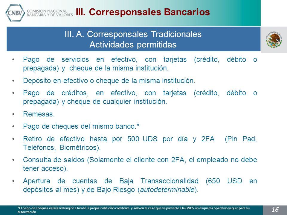 16 Pago de servicios en efectivo, con tarjetas (crédito, débito o prepagada) y cheque de la misma institución.