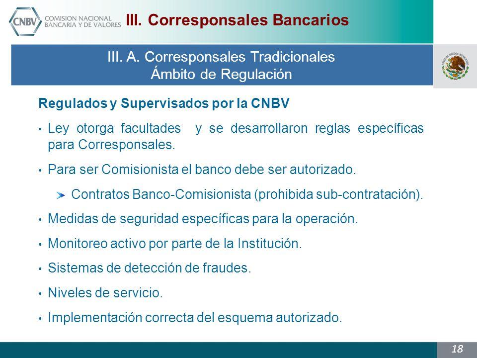 18 Regulados y Supervisados por la CNBV Ley otorga facultades y se desarrollaron reglas específicas para Corresponsales.