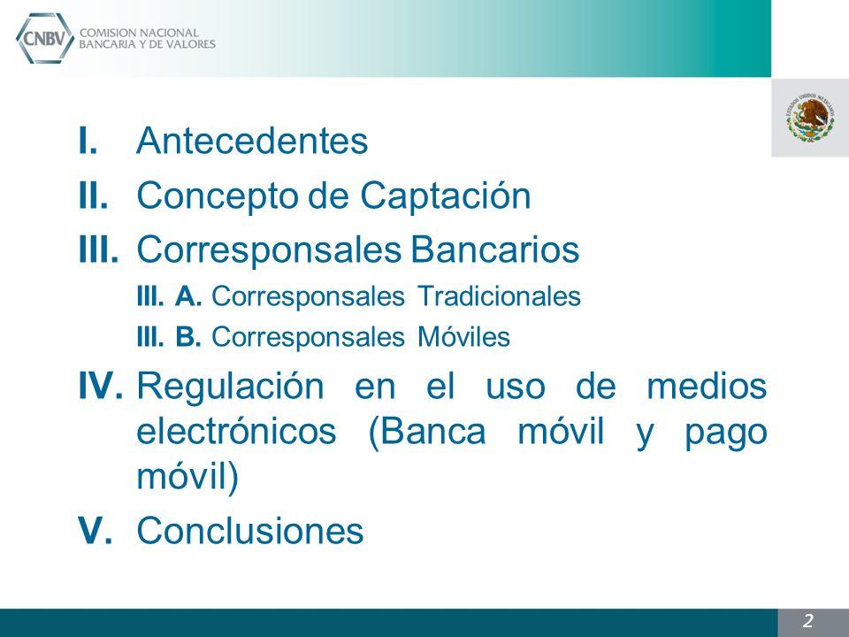 2 I.Antecedentes II.Concepto de Captación III.Corresponsales Bancarios III.