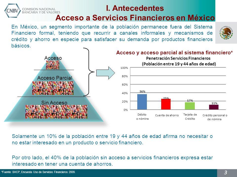 3 En México, un segmento importante de la población permanece fuera del Sistema Financiero formal, teniendo que recurrir a canales informales y mecanismos de crédito y ahorro en especie para satisfacer su demanda por productos financieros básicos.