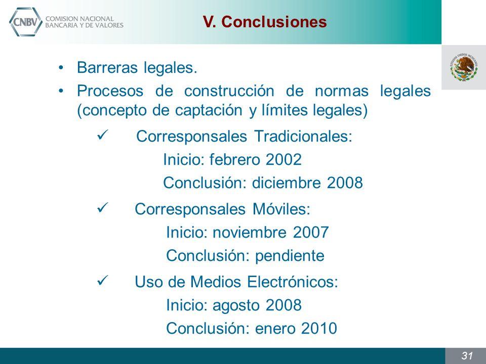 31 V.Conclusiones Barreras legales.