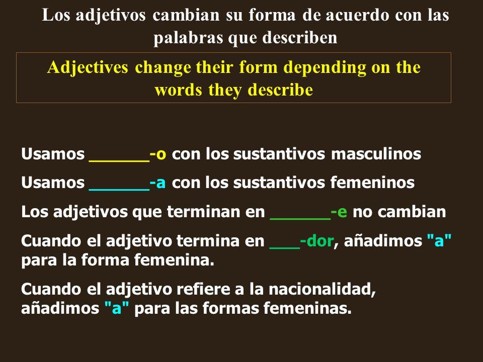 Los adjetivos cambian su forma de acuerdo con las palabras que describen Adjectives change their form depending on the words they describe Usamos ____