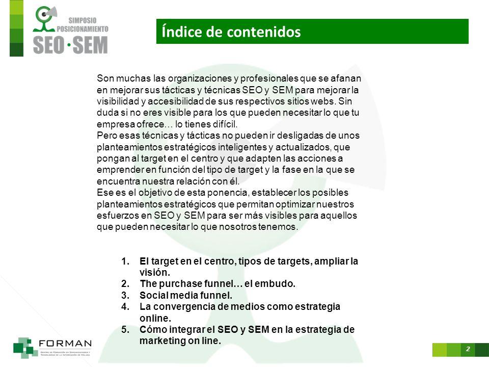 1 Cómo integrar el SEO y SEM en la estrategia de marketing on line. David Serrano Gutiérrez Twitter: @davidserranoes davidserrano@mkg20.com