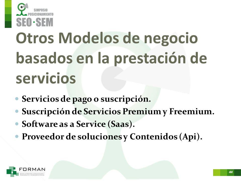 43 Modelos de negocio basados en la intermediación Comisión, fee, servicios complementarios. Distribuidores. Comparadores. Agregadores. Plataformas de