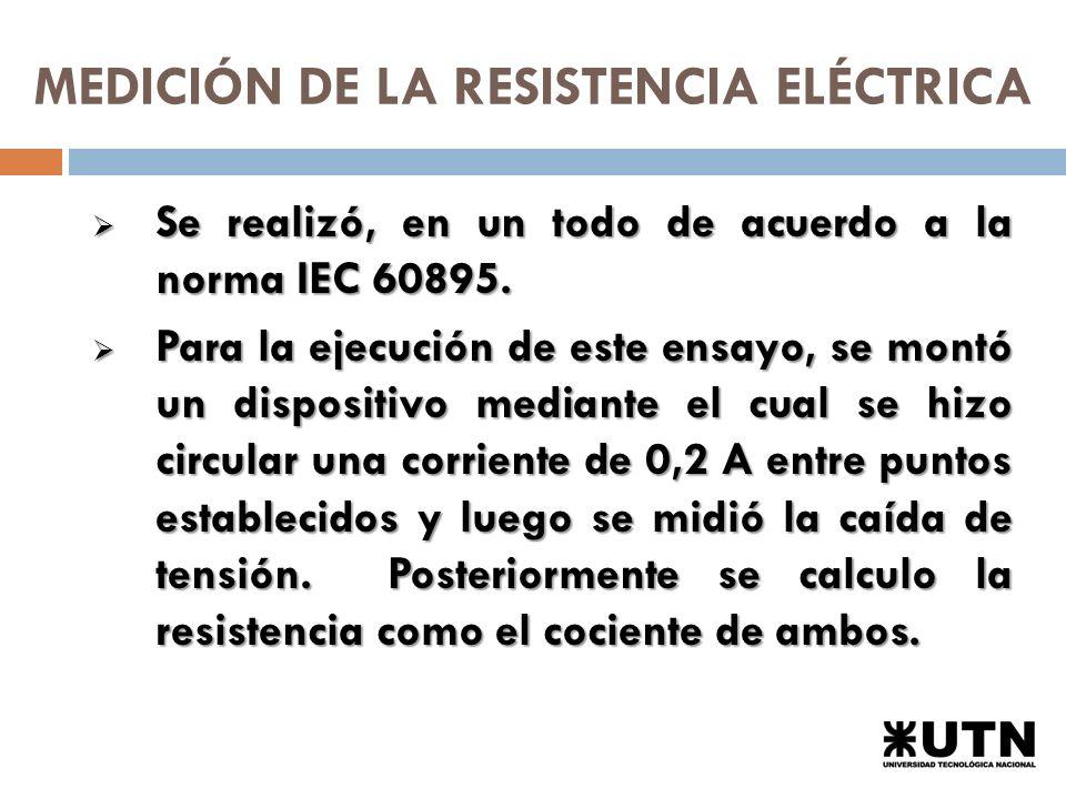 MEDICIÓN DE LA RESISTENCIA ELÉCTRICA Se realizó, en un todo de acuerdo a la norma IEC 60895.