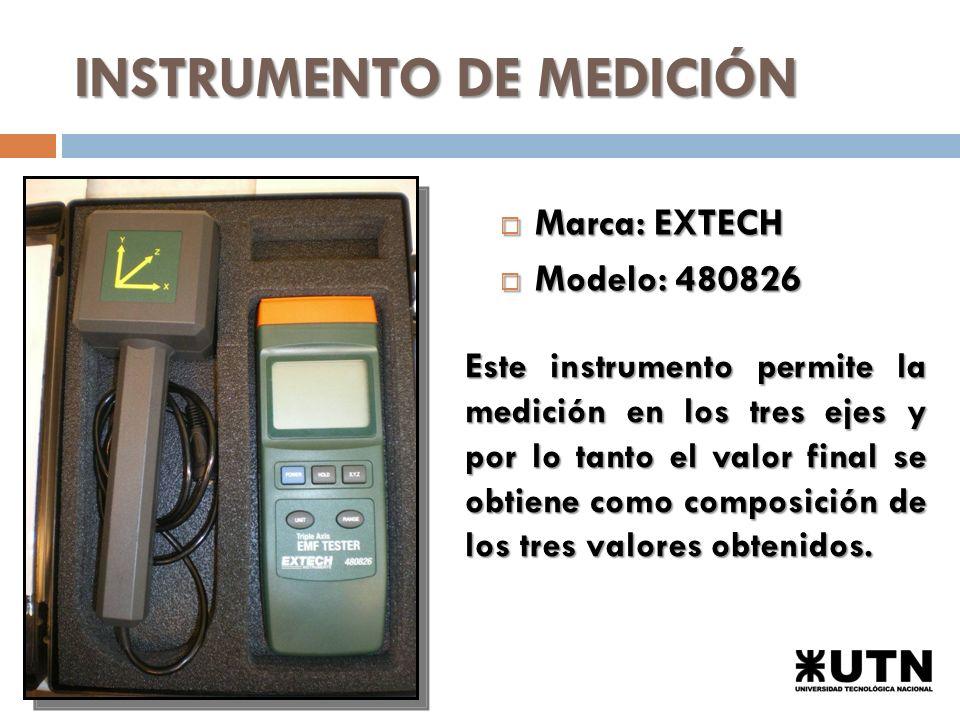 INSTRUMENTO DE MEDICIÓN Marca: EXTECH Marca: EXTECH Modelo: 480826 Modelo: 480826 Este instrumento permite la medición en los tres ejes y por lo tanto el valor final se obtiene como composición de los tres valores obtenidos.