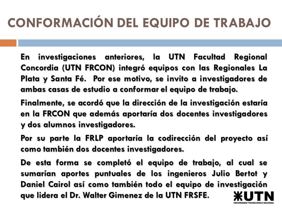 CONFORMACIÓN DEL EQUIPO DE TRABAJO En investigaciones anteriores, la UTN Facultad Regional Concordia (UTN FRCON) integró equipos con las Regionales La Plata y Santa Fé.
