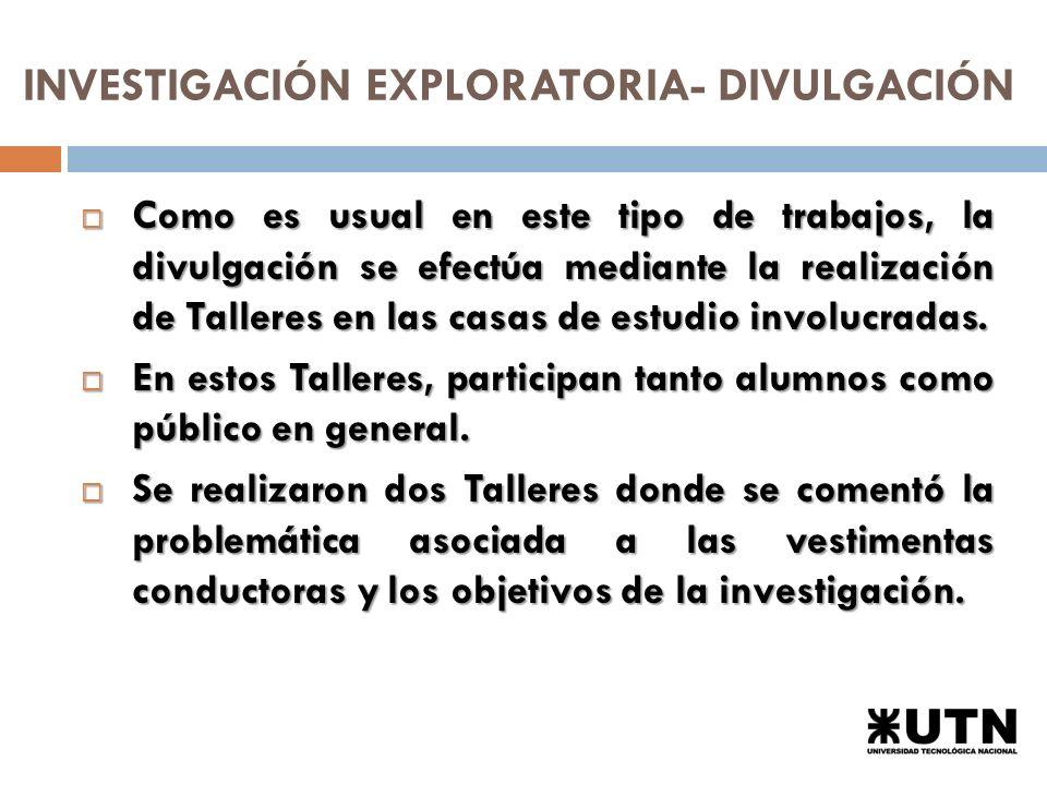 INVESTIGACIÓN EXPLORATORIA- DIVULGACIÓN Como es usual en este tipo de trabajos, la divulgación se efectúa mediante la realización de Talleres en las casas de estudio involucradas.