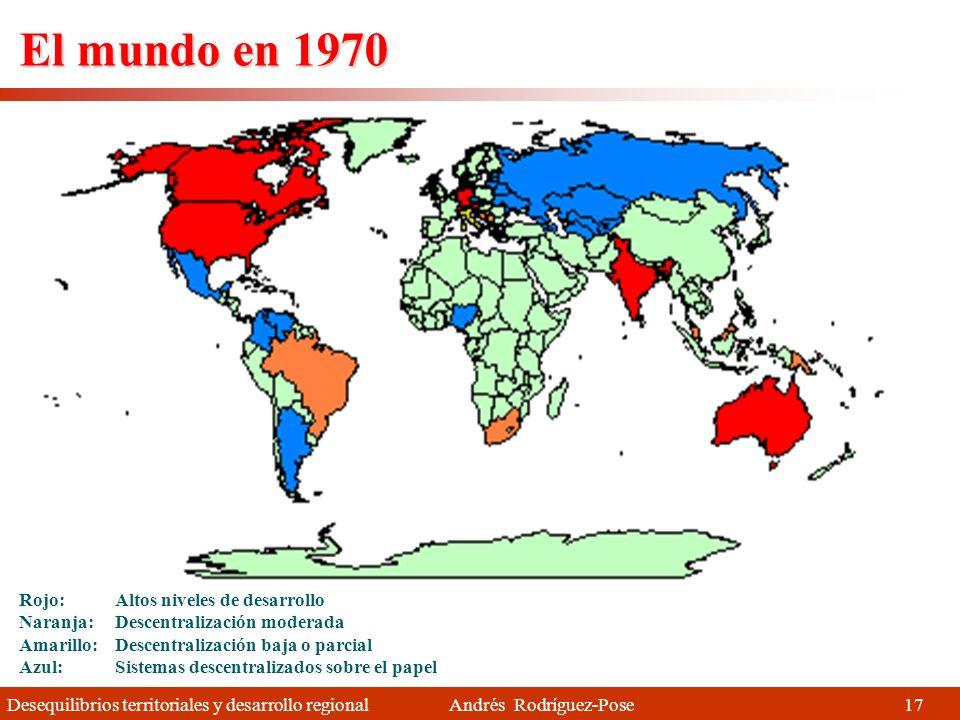 Desequilibrios territoriales y desarrollo regional Andrés Rodríguez-Pose Descentralización Los gobiernos estatales, regionales y locales están adquiriendo más competencias y recursos desde los años 70- 80 1.Y cada vez tienen una mayor capacidad para poner en marcha políticas de desarrollo.