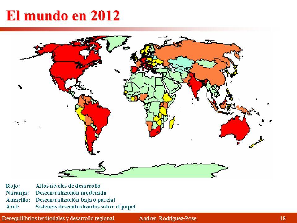 Desequilibrios territoriales y desarrollo regional Andrés Rodríguez-Pose Rojo: Altos niveles de desarrollo Naranja: Descentralización moderada Amarillo: Descentralización baja o parcial Azul: Sistemas descentralizados sobre el papel El mundo en 1970 17