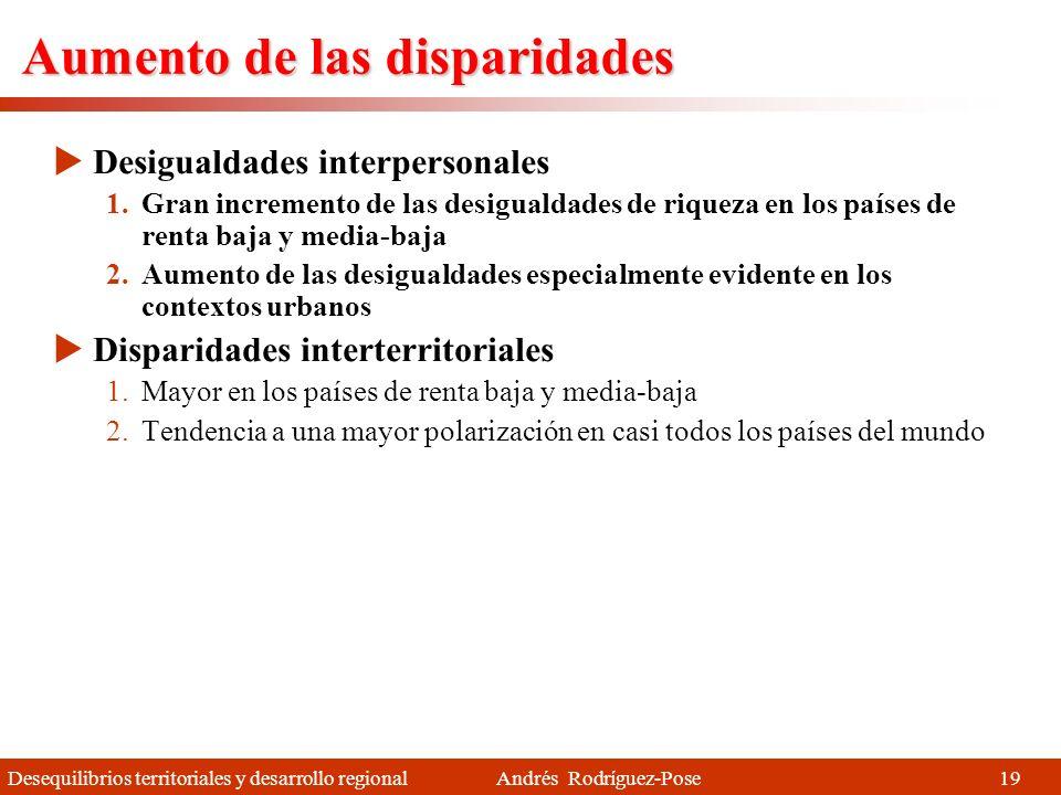 Desequilibrios territoriales y desarrollo regional Andrés Rodríguez-Pose El mundo en 2012 Rojo: Altos niveles de desarrollo Naranja: Descentralización