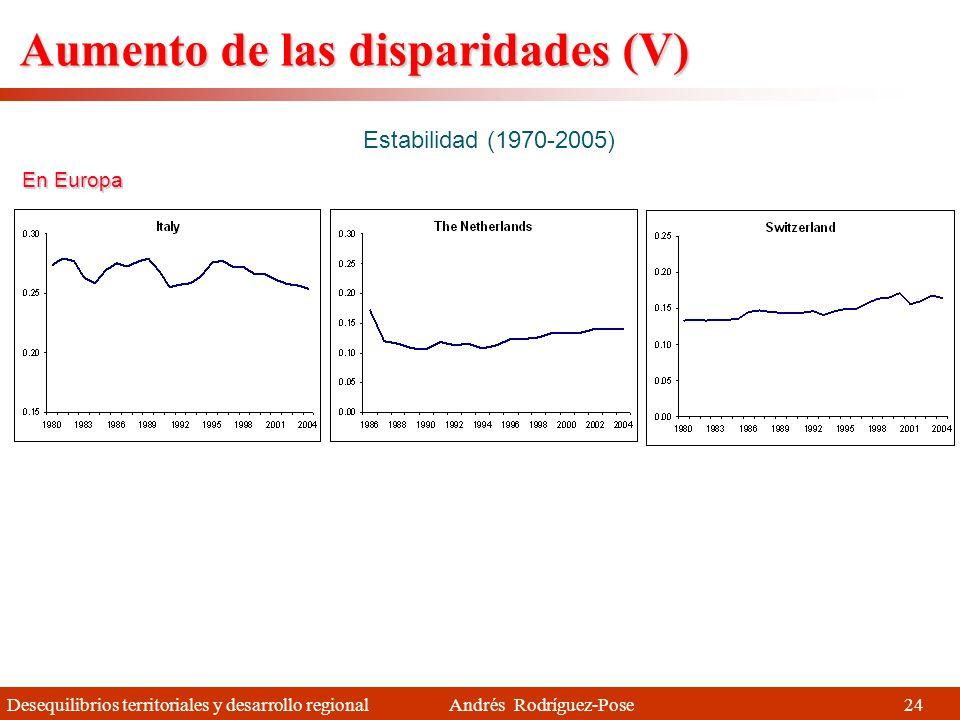 Desequilibrios territoriales y desarrollo regional Andrés Rodríguez-Pose Aumento de las disparidades (IV) Aumento rápido (1970-2005) Pero también en E