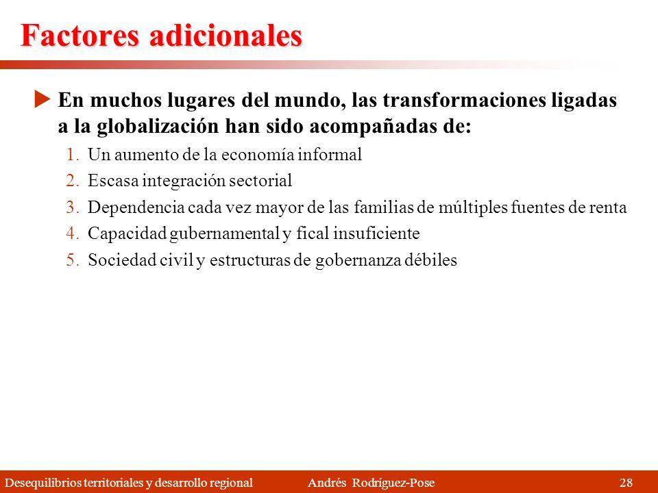 Desequilibrios territoriales y desarrollo regional Andrés Rodríguez-Pose Estabilidad o ligero declive (1990-2006) ¿Y qué pasa en la región? No sosteni