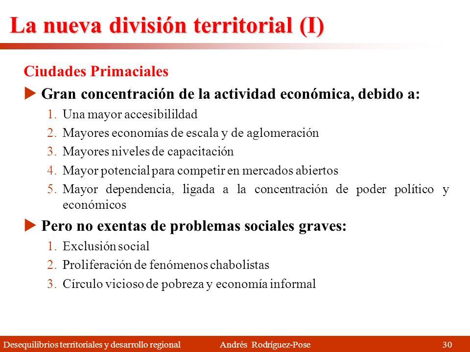 Desequilibrios territoriales y desarrollo regional Andrés Rodríguez-Pose Aparición de una nueva estructura territorial Los Estados se están adaptando