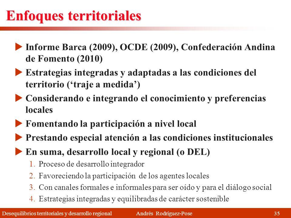 Desequilibrios territoriales y desarrollo regional Andrés Rodríguez-Pose Enfoques no territoriales Los procesos que favorecen la aglomeración de la ac