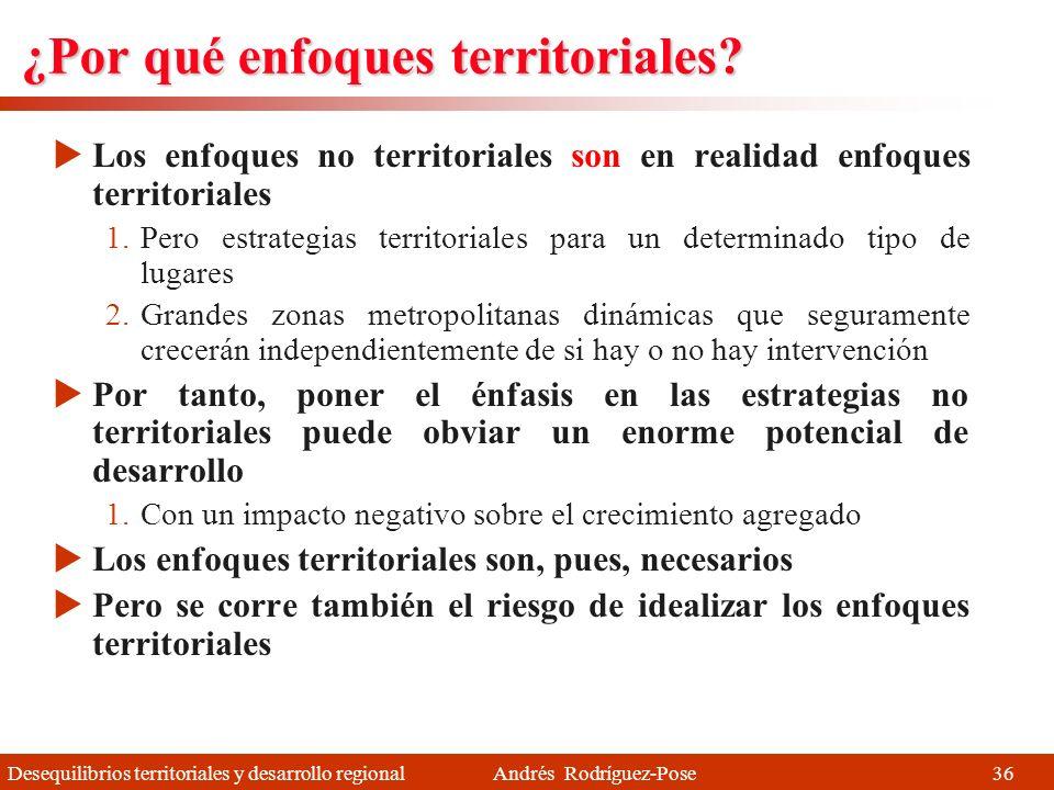 Desequilibrios territoriales y desarrollo regional Andrés Rodríguez-Pose Enfoques territoriales Informe Barca (2009), OCDE (2009), Confederación Andin