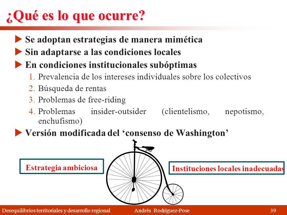 Desequilibrios territoriales y desarrollo regional Andrés Rodríguez-Pose Pero ¿qué es lo que ocurre? 1 2 3 38