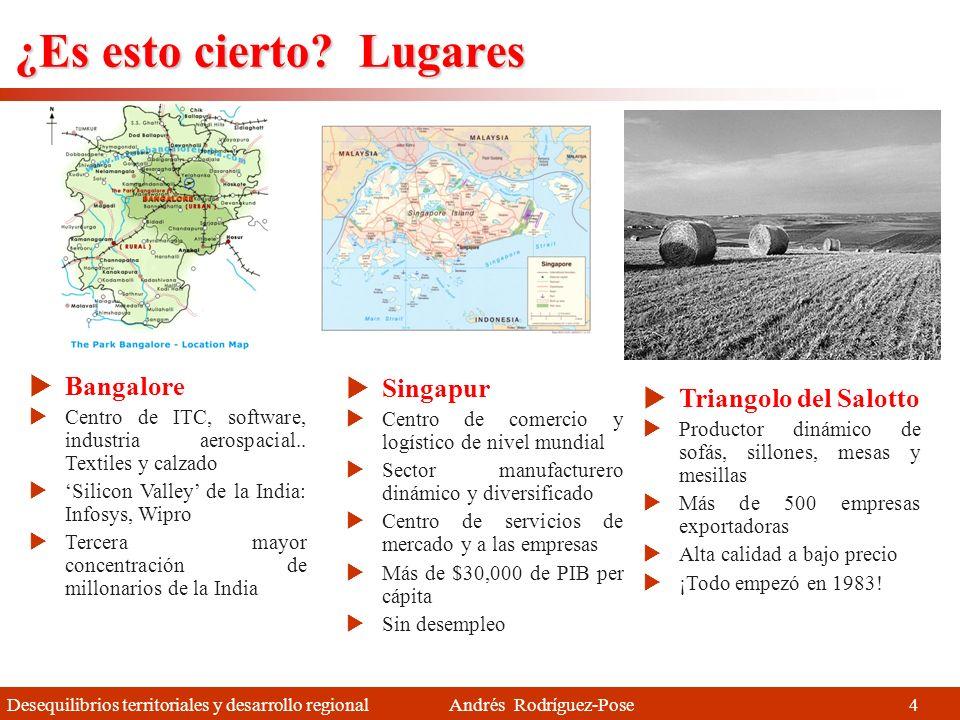 Desequilibrios territoriales y desarrollo regional Andrés Rodríguez-Pose Estabilidad (1970-2005) Aumento de las disparidades (V) En Europa 24