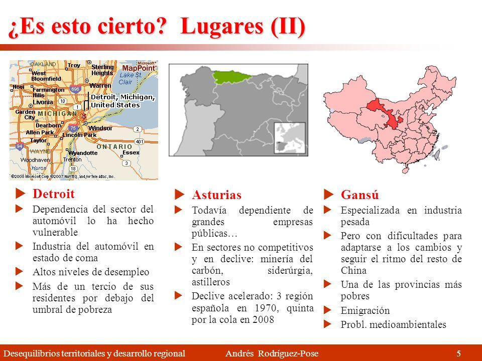 Desequilibrios territoriales y desarrollo regional Andrés Rodríguez-Pose Enfoques territoriales Informe Barca (2009), OCDE (2009), Confederación Andina de Fomento (2010) Estrategias integradas y adaptadas a las condiciones del territorio (traje a medida) Considerando e integrando el conocimiento y preferencias locales Fomentando la participación a nivel local Prestando especial atención a las condiciones institucionales En suma, desarrollo local y regional (o DEL) 1.Proceso de desarrollo integrador 2.Favoreciendo la participación de los agentes locales 3.Con canales formales e informales para ser oído y para el diálogo social 4.Estrategias integradas y equilibradas de carácter sostenible 35