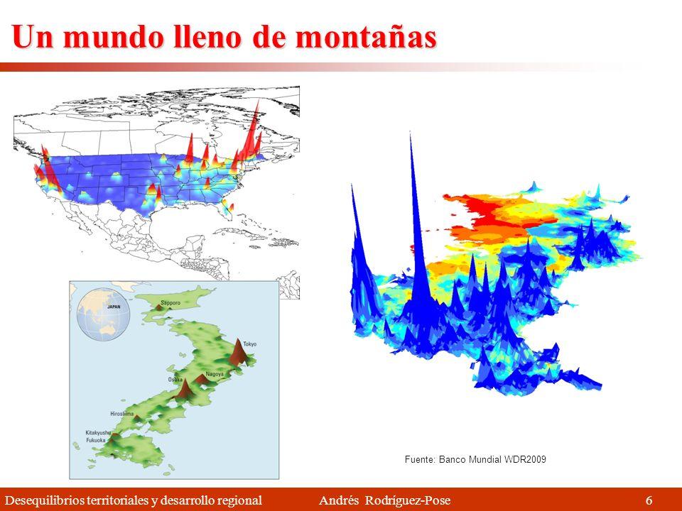 Desequilibrios territoriales y desarrollo regional Andrés Rodríguez-Pose 6 Un mundo lleno de montañas Fuente: Banco Mundial WDR2009