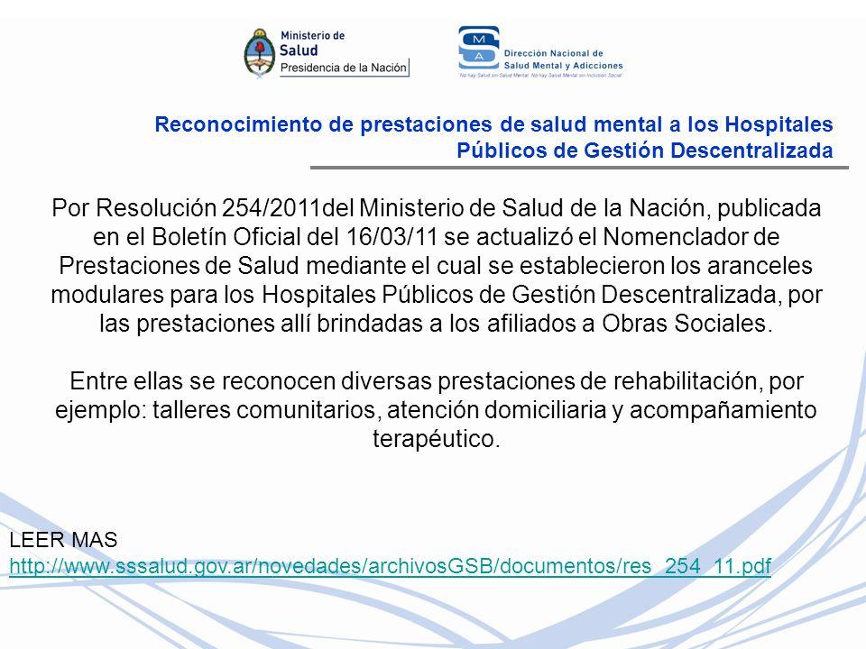 Reconocimiento de prestaciones de salud mental a los Hospitales Públicos de Gestión Descentralizada Por Resolución 254/2011del Ministerio de Salud de