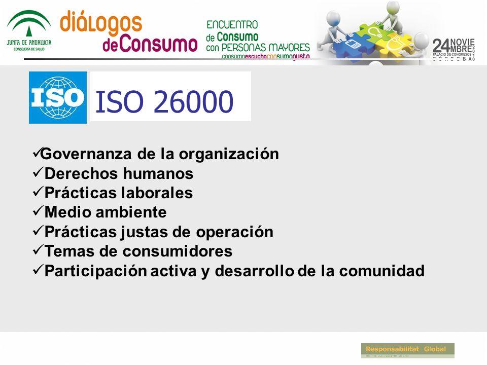 ISO 26000 Governanza de la organización Derechos humanos Prácticas laborales Medio ambiente Prácticas justas de operación Temas de consumidores Participación activa y desarrollo de la comunidad