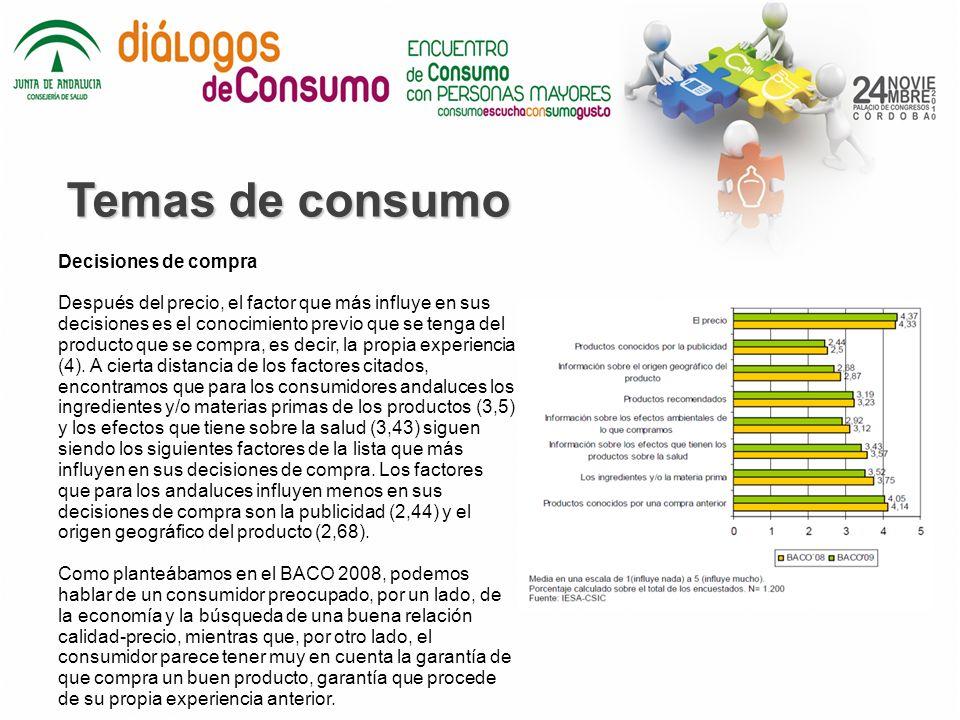Temas de consumo Decisiones de compra Después del precio, el factor que más influye en sus decisiones es el conocimiento previo que se tenga del producto que se compra, es decir, la propia experiencia (4).