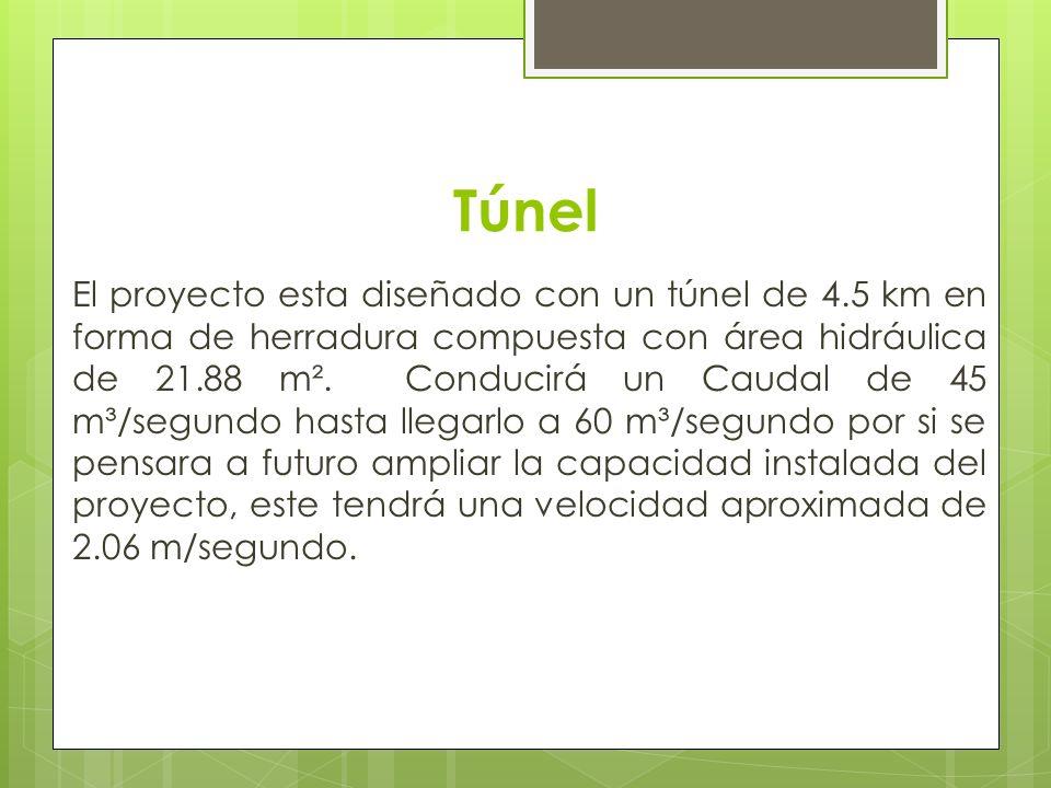 Túnel El proyecto esta diseñado con un túnel de 4.5 km en forma de herradura compuesta con área hidráulica de 21.88 m². Conducirá un Caudal de 45 m³/s