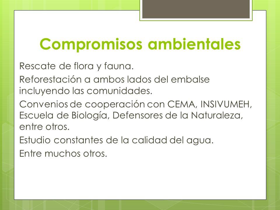 Compromisos ambientales Rescate de flora y fauna. Reforestación a ambos lados del embalse incluyendo las comunidades. Convenios de cooperación con CEM