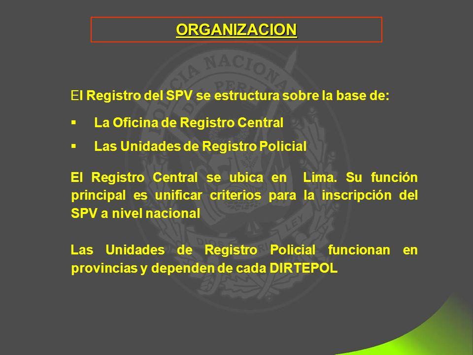 ORGANIZACION El Registro del SPV se estructura sobre la base de: La Oficina de Registro Central Las Unidades de Registro Policial El Registro Central se ubica en Lima.