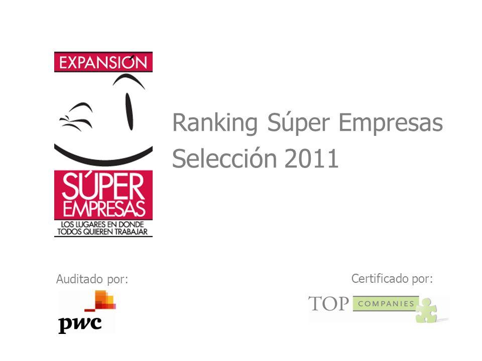 Ranking Súper Empresas Selección 2011 Auditado por: Certificado por: