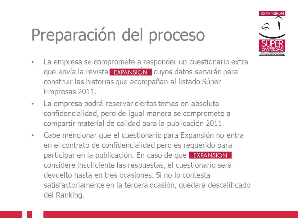 Preparación del proceso La empresa se compromete a responder un cuestionario extra que envía la revista EXPANSIÓN, cuyos datos servirán para construir las historias que acompañan al listado Súper Empresas 2011.