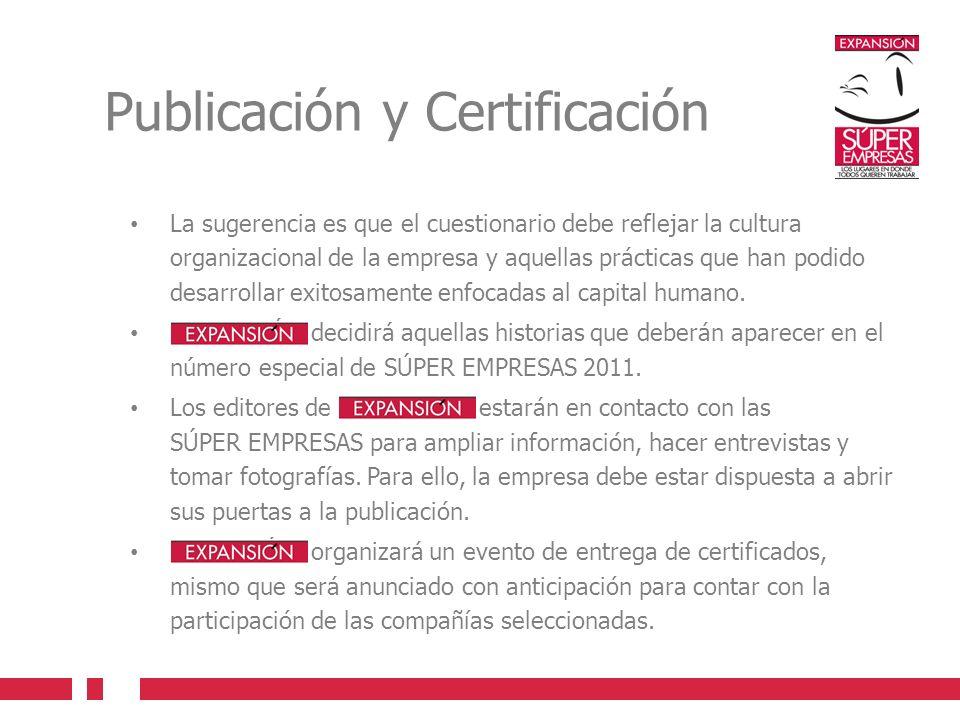 Publicación y Certificación La sugerencia es que el cuestionario debe reflejar la cultura organizacional de la empresa y aquellas prácticas que han podido desarrollar exitosamente enfocadas al capital humano.