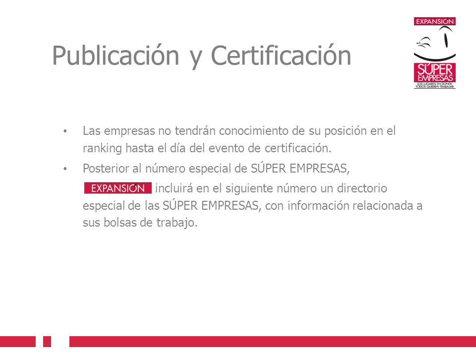 Publicación y Certificación Las empresas no tendrán conocimiento de su posición en el ranking hasta el día del evento de certificación. Posterior al n