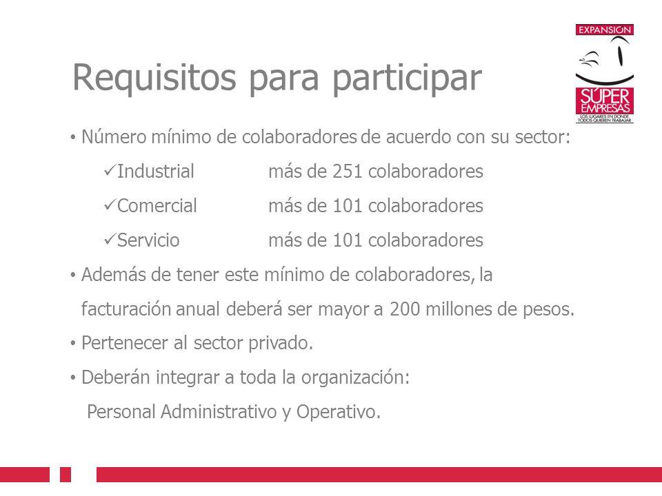 Requisitos para participar Número mínimo de colaboradores de acuerdo con su sector: Industrial más de 251 colaboradores Comercial más de 101 colaborad