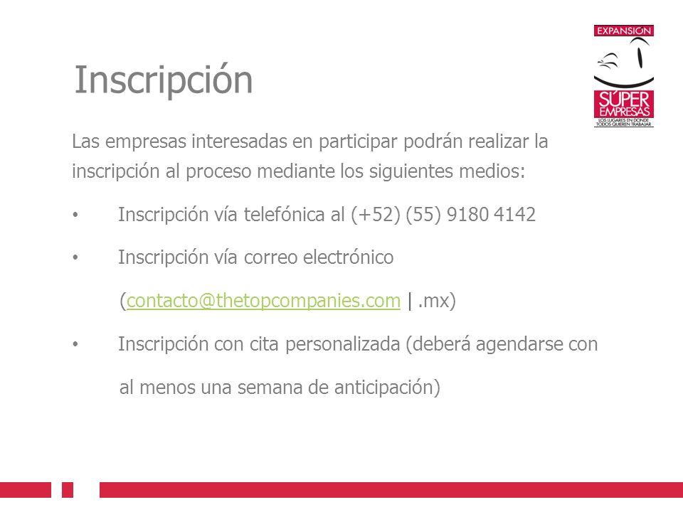 Inscripción Las empresas interesadas en participar podrán realizar la inscripción al proceso mediante los siguientes medios: Inscripción vía telefónic