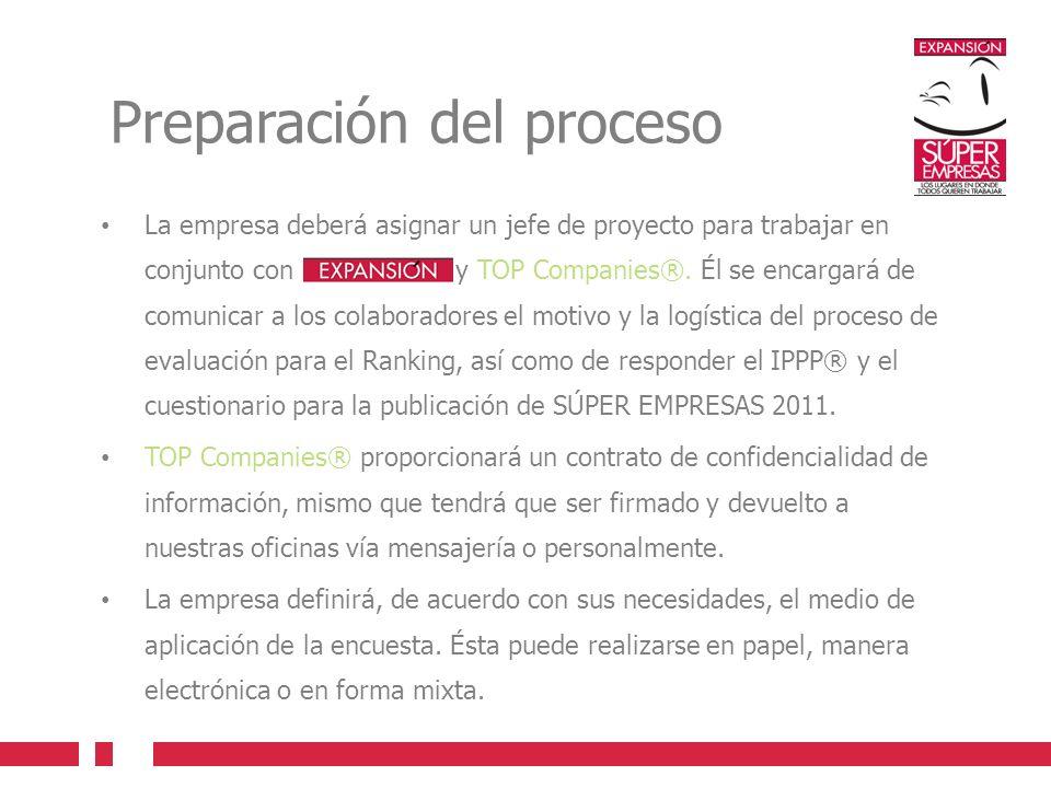 Preparación del proceso La empresa deberá asignar un jefe de proyecto para trabajar en conjunto con EXPANSION y TOP Companies®. Él se encargará de com