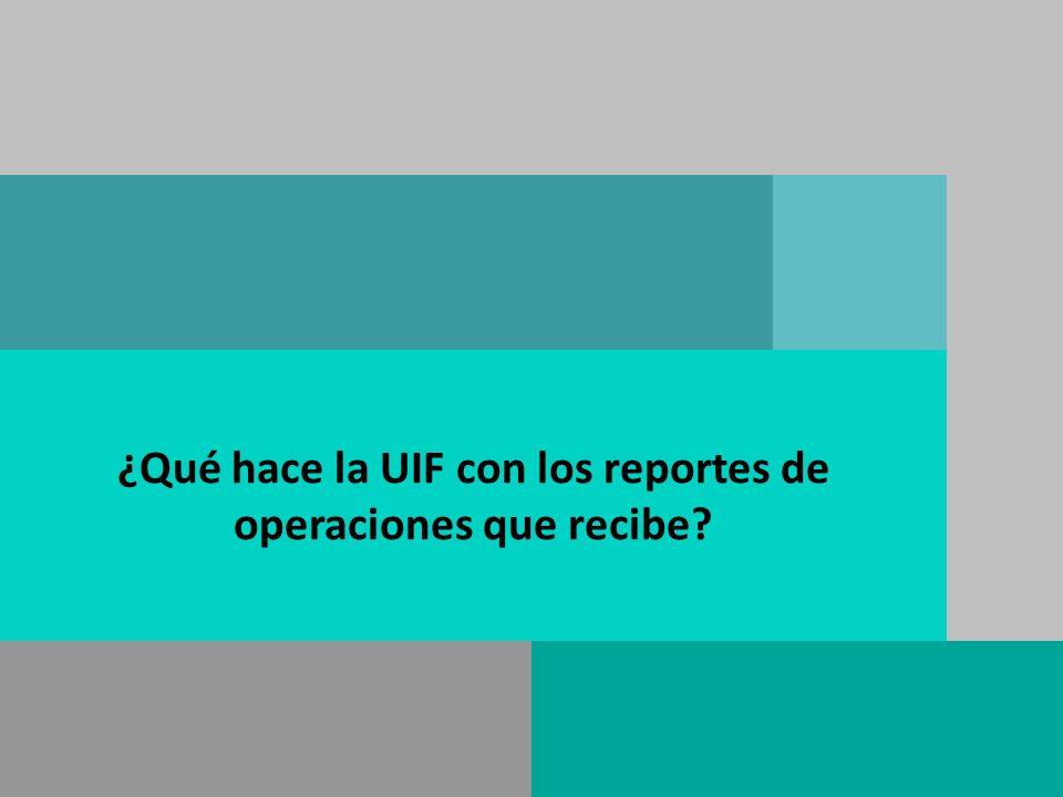 ¿Qué hace la UIF con los reportes de operaciones que recibe?