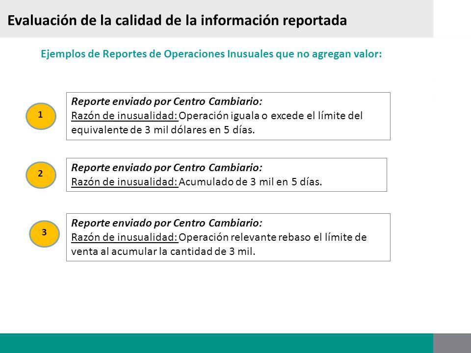 Ejemplos de Reportes de Operaciones Inusuales que no agregan valor: Reporte enviado por Centro Cambiario: Razón de inusualidad: Operación iguala o exc