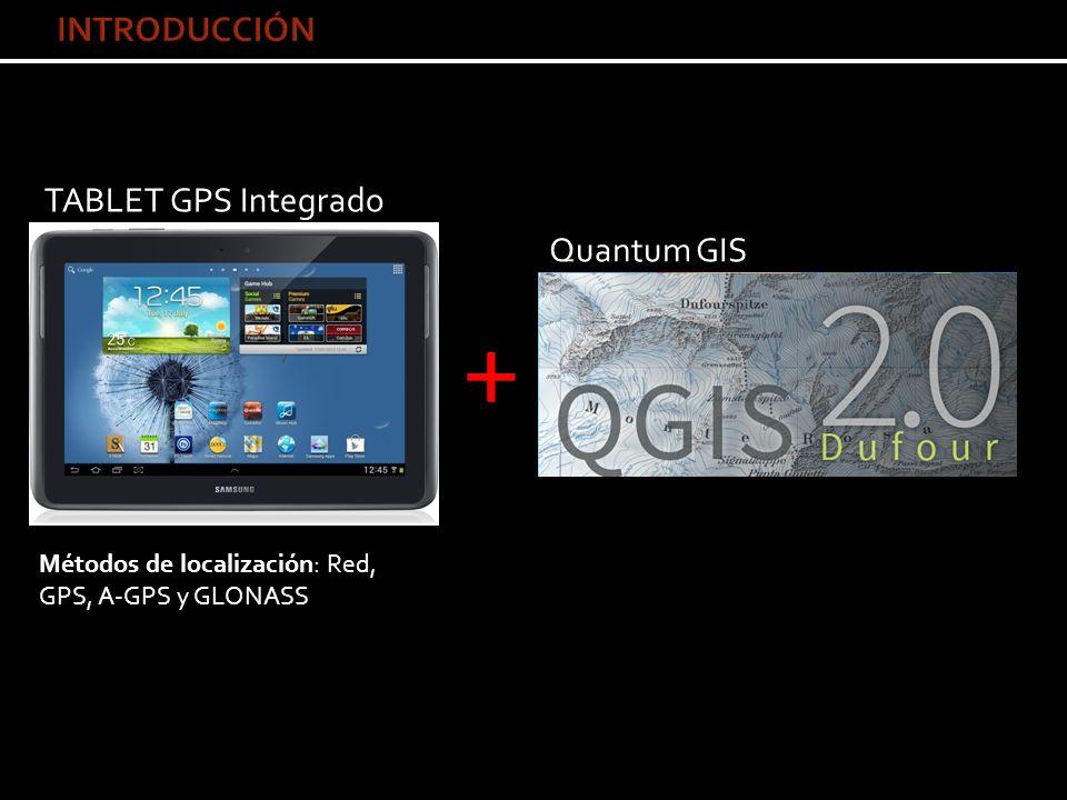TABLET GPS Integrado + Quantum GIS Métodos de localización: Red, GPS, A-GPS y GLONASS