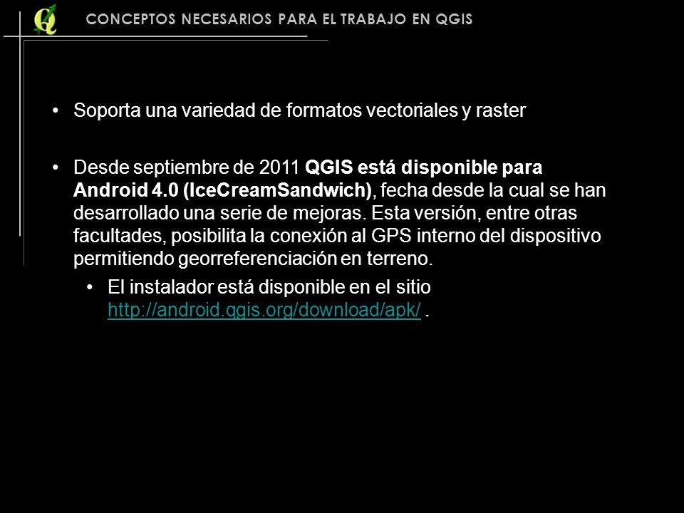 Soporta una variedad de formatos vectoriales y raster Desde septiembre de 2011 QGIS está disponible para Android 4.0 (IceCreamSandwich), fecha desde l