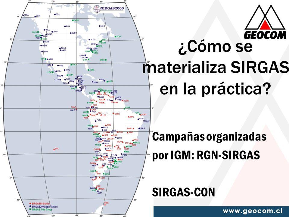 ¿Cómo se materializa SIRGAS en la práctica? Campañas organizadas por IGM: RGN-SIRGAS SIRGAS-CON